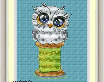 Owlet Cross Stitch Pattern Animal pattern Modern cross stitch pattern PDF Embroidery room wall decor Owl