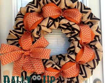 Fall Burlap Wreath - Autumn  Burlap wreath,Orange,  Natural and Black with White Chevron - Fall Wreath- Year Round Wreath - Door Wreath