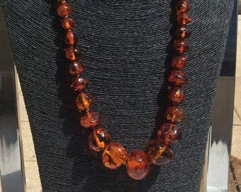 Stunning Cognac Amber Graduated Bead Necklace.