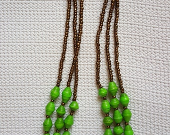 3 strand statement necklace in Chlorophyll