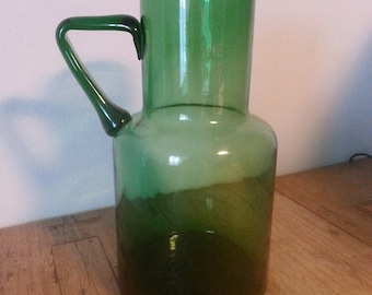 Handmade water pitcher green glass