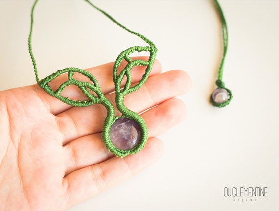 Amethyst small tree necklace