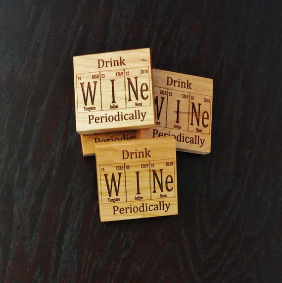 Periodic Table Inspired Wooden Coasters. Available in Cherry or Maple. Patio-Home Bar-Bar Decor-Home Decor-Living Room-Housewarming Gift