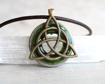 green triquetra necklace, mens necklace, mens jewelry, celtic jewelry, unique gift, irish jewelry, mens gift, celtic necklace, celtic knot