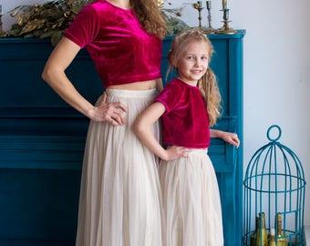 Tulle Baby Mommy Matching Skirt Top set, Mom and Me skirts, Long Tulle Skirt, Twinning, Mommy baby matching, Velvet Crop Top