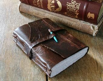 Leather Journal with Turquoise howlite spike closure . handmade handbound . dark distressed brown (320 pgs)