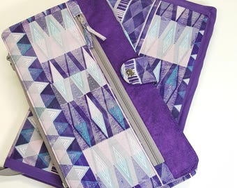 Deluxe Spill Proof Needlecase in Mod Purple Geometric for tips, circs and short dpns