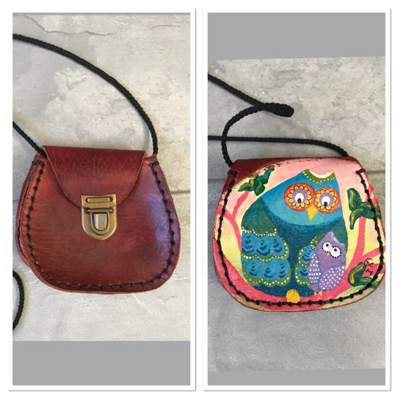 Vintage cute little brown leather bag with owl painting