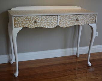 Queen Anne table - 2 drawers, stencilled, painted white , cottage, provincial, chalk paint,