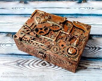 Steampunk Mechanical Cigar box - Gift for him - Groomsman gift -  Storage box - Home decoration box -  Wooden cigar box