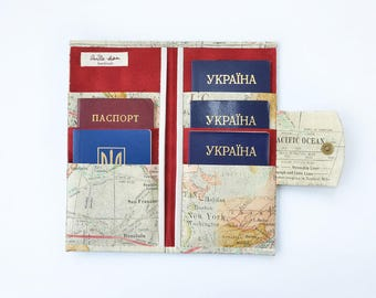 6 Passport wallet family Travel wallet organizer Passport holder womens australia with button Travel holder Traveller gift for men World Map