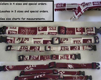 Texas A & M Aggie Fabric Dog Collars, Breakaway Cat collars and Leashes - all sizes - pet collars that are Adjustable and Reinforced