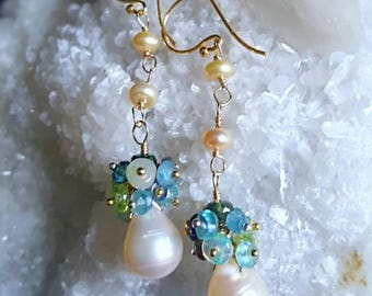Freshwater Pearl Drop Gemstone Cluster Earrings Ethiopian Opal Aquamarine and Apatite Gold Filled Bridal Earrings Gift for Her