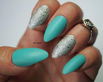 Pastel blue stiletto nails, Nail designs, Nail art, Stiletto nails, False nails, Acrylic nails, Pointy nails, Fake nails, press on nails