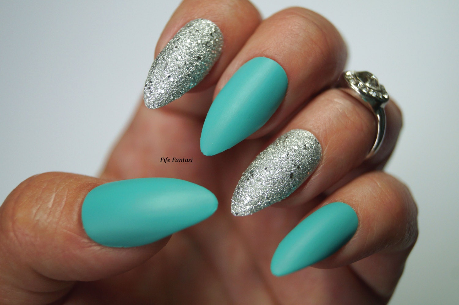 Pastel blue stiletto nails, Nail designs, Nail art, Stiletto nails ...