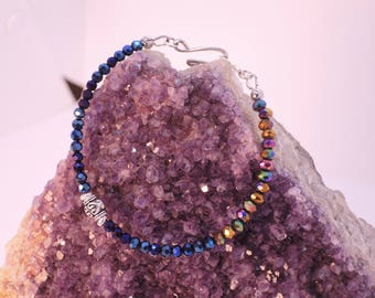 Kenilworth Bracelet in Bronze-Purple Iris and Deep Blue Iris