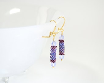 Shades of purple peyote stitch hand beaded earrings, lever back