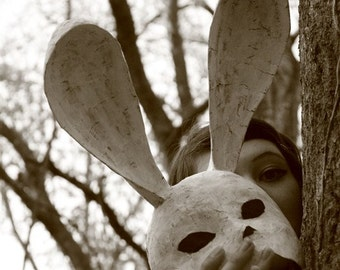 Let Me Have a Look at You. Horror art photography rabbit mask paper forest