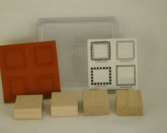 Borders Mini 1995 Stampin Up Set Of 4 New Unmounted Lace Checkered Zig Zag Retired Rubber Stamp NEW