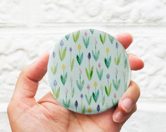 Green garden pocket mirror, gift for mother, pocket mirror, make up bag, gift for her, cute mirror, mothers day gift, tulips,sale, tulip