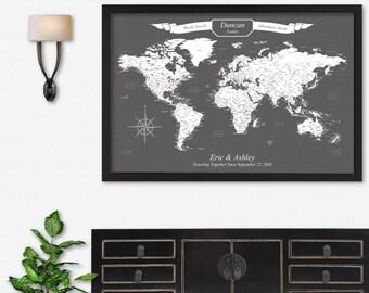 World Push Pin Map of the World Canvas Map Push Pin Travel Map Large World Map Poster Print Large Map Wall Art World Travel Map Travel Decor