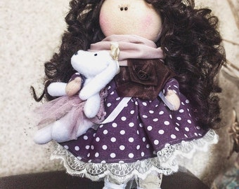 Tilda doll,textile Tilda,purple,doll as a gift,family gifts,interior doll,beautiful doll,fashion doll style handmade from natural materials
