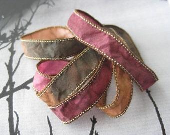 Brown Fawn Claret, Silk Wrap Bracelet , Silk Fairy Ribbon, DIY wrap bracelet, Silk Bracelet, Ribbon Bracelet, fairy silk ribbon wrap