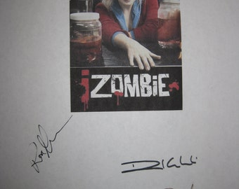 izombie Signed TV Script Screenplay Autographs Rose McIver Rahul Kohli Robert Buckley David Anders signatures horror tv