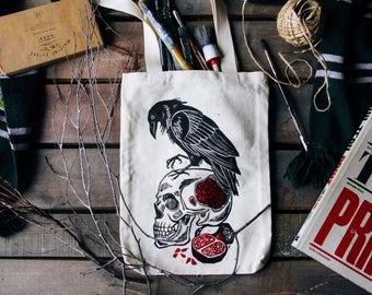 BIRDMEAL, original handprinted linocut raven totebag