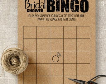 Bingo game, Bridal shower game, printable game cards, rustic games, party games, G101-Bingo
