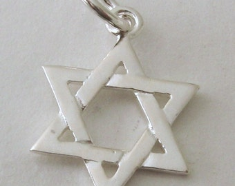 Genuine SOLID 925 STERLING SILVER Star of David charm/pendant