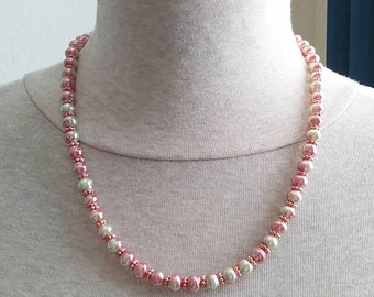 Rose Cream Faux Pearl Necklace