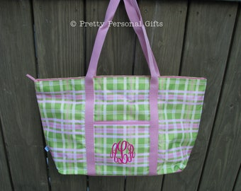 Pink and Green Plaid Tote Bag - monogrammed or personalized - Plaid Tote Bag