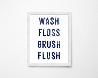 Navy Bathroom Wall Decor, Kids PRINTABLE Art, Kids Bathroom Decor, Wash Floss Brush Flush, Wash Brush Floss Sign, Bathroom Printables Kids