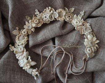 Boho flower crown Head wreath Wedding flower crown Flower crown Floral head wreath Wedding headpiece Hair wreath