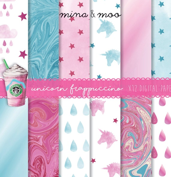 Unicorn Digital Paper Frappuccino Pink Blue