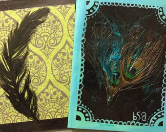 set of teo Feathers on Black notecards