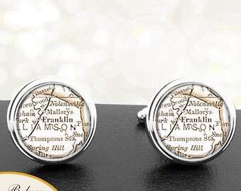 Map Cufflinks Franklin TN Handmade Cuff Links USA City State Maps Tennessee Groomsmen Wedding Party Fathers Dads Men
