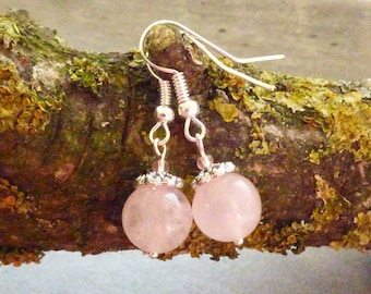 ROSE QUARTZ MINERAL BEAD EARRINGS