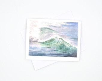 watercolor seascape notecard - nautical themed blank cards - wave art card - sailors greeting card - watercolor notecard - nautical greeting