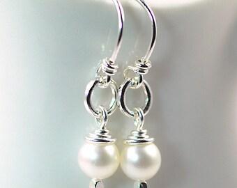 Pearl Sterling Silver Dangle Earrings / Pearl Bridesmaid Earrings / White Pearl Drop Earrings
