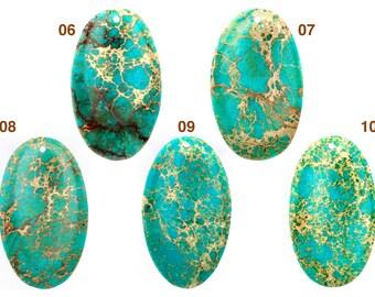 GEM15020160B) Turquoise Oval Shape Pendant, Imperial Turquoise Pendant