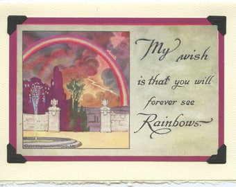 Rainbow Wishes: Vintage LGBTQ Card - rainbow pride card, best wishes card, thinking of you card, gay pride card, always see rainbows card