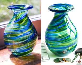 Small Hand Blown Glass Vase - Bulbous Shape with Sparkly Green and Blue Streaks