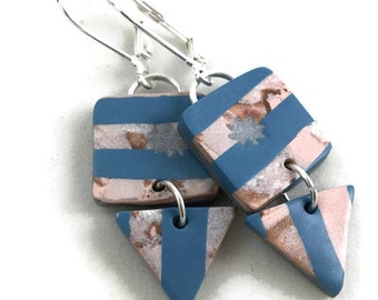 Dangle earrings aqua stripes with square and triangle shapes