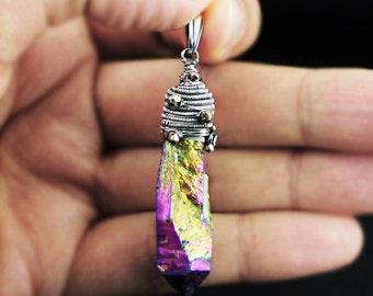 Rainbow pendant, multicolor pendant, agate titanum pendant, wire-wrapping, wrapped pendant, wire wrap, sterling silver, oxidized, raw agate