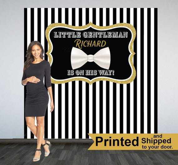 Little Gentleman Baby Shower Backdrop Photo Booth Backdrop