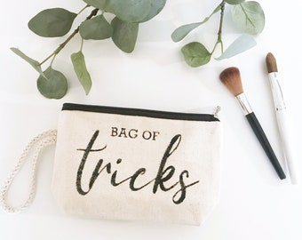 Bag Of Tricks | Canvas Wristlet | Canvas Makeup Bag | Travel Pouch | Mother's Day Gift | Funny Women's Gift | Made To Order