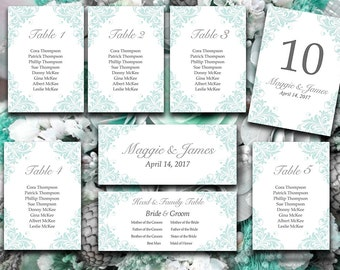 """Wedding Seating Chart Template Flourish Pale Blue Heather Gray Charcoal Silver """"Maggie"""" Wedding Template Table Number Card Wedding Download"""