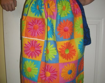 girl reversible hostess apron, vibrant daisies bright warm stripes, ages 6-teen, colorful hostess with mostest, ready to ship